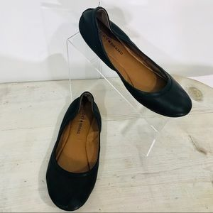 Lucky Brand Black Leather Ballet Style Flats SZ 8
